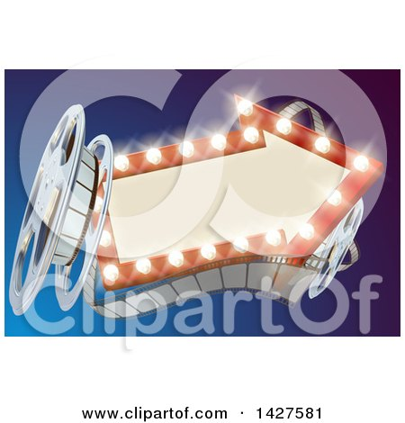 Clipart of a 3d Film Reel and an Illuminated Arrow Sign over Blue - Royalty Free Vector Illustration by AtStockIllustration