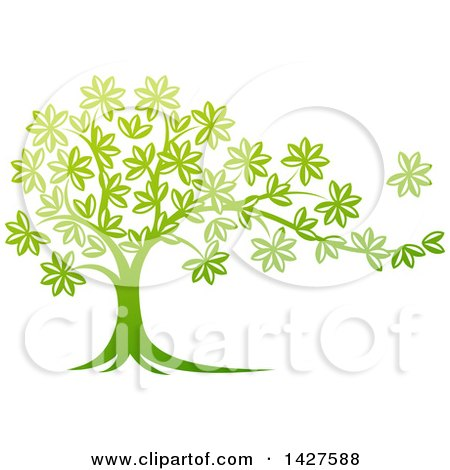 Clipart Of A Beautiful Gradient Green Tree With A Leaf Flying Away In The Breeze Royalty Free Vector Illustration