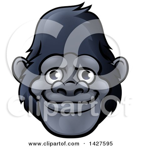 Clipart of a Happy Smiling Gorilla Face Avatar - Royalty Free Vector Illustration by AtStockIllustration