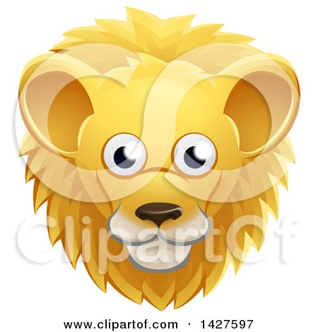 Clipart of a Happy Male Lion Face Avatar - Royalty Free Vector Illustration by AtStockIllustration