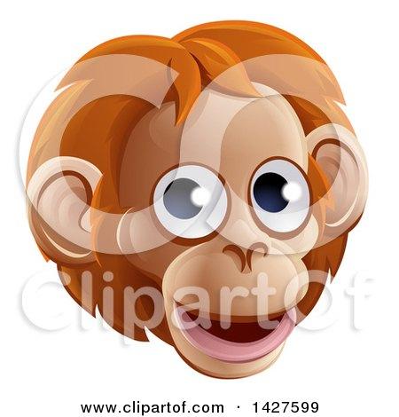 Clipart of a Happy Orangutan Face Avatar - Royalty Free Vector Illustration by AtStockIllustration