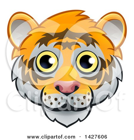 Clipart of a Happy Tiger Face Avatar - Royalty Free Vector Illustration by AtStockIllustration