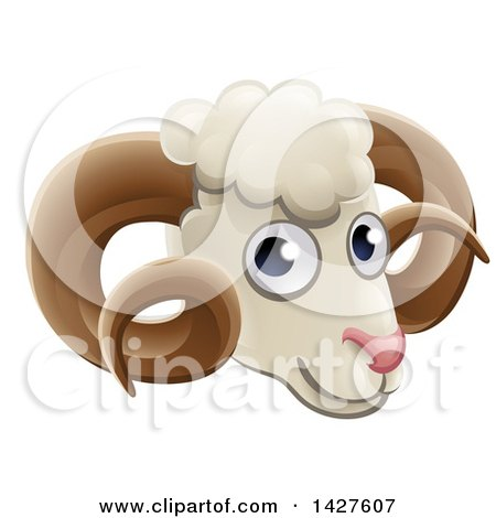 Clipart of a Happy Ram Face Avatar - Royalty Free Vector Illustration by AtStockIllustration