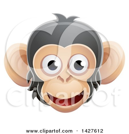 Clipart of a Happy Chimpanzee Monkey Face Avatar - Royalty Free Vector Illustration by AtStockIllustration