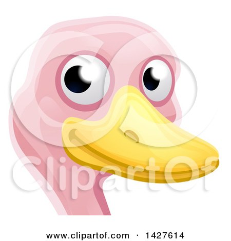 Clipart of a Happy Ostrich Face Avatar - Royalty Free Vector Illustration by AtStockIllustration