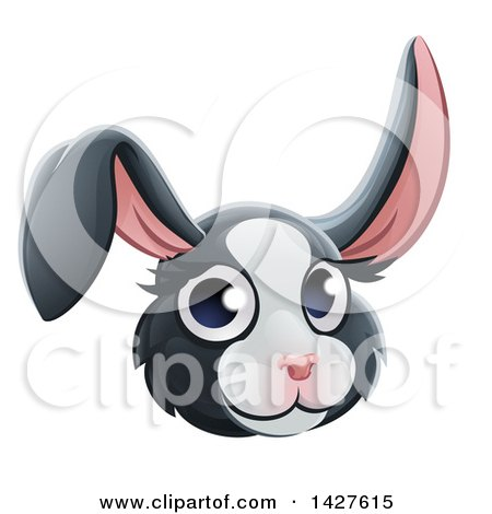Clipart of a Happy Dutch Rabbit Face Avatar - Royalty Free Vector Illustration by AtStockIllustration