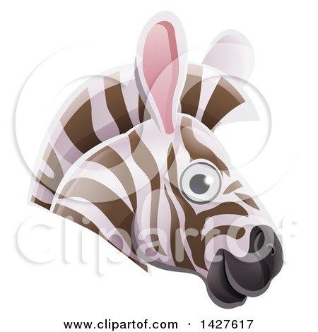 Clipart of a Happy Zebra Face Avatar - Royalty Free Vector Illustration by AtStockIllustration