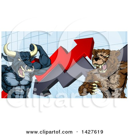 Clipart of a Vicious Muscular Brown Bear Man and Bull Ready to Fight over a Graph with Arrows - Royalty Free Vector Illustration by AtStockIllustration