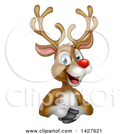 Clipart of a Cartoon Happy Rudolph Red Nosed Reindeer over an Edge - Royalty Free Vector Illustration by AtStockIllustration