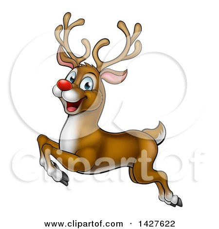 Clipart of a Cartoon Happy Rudolph Red Nosed Reindeer Leaping or Flying - Royalty Free Vector Illustration by AtStockIllustration