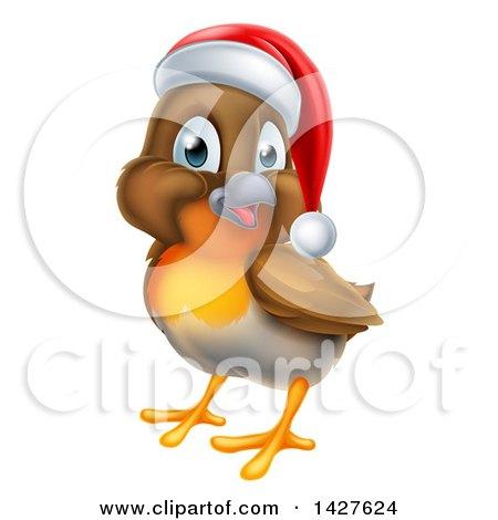 Clipart of a Jolly Christmas Robin in a Santa Hat, Facing Left - Royalty Free Vector Illustration by AtStockIllustration