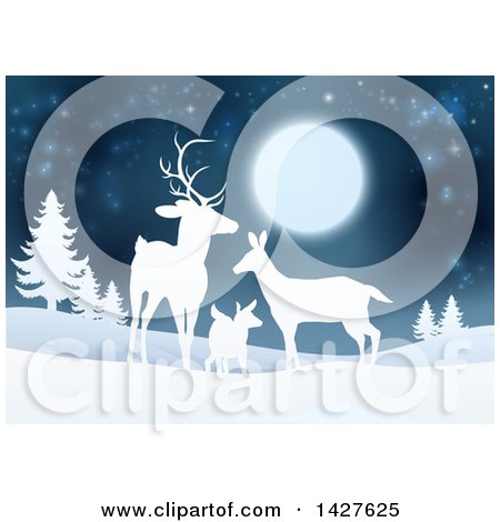 Clipart of a White Silhouetted Deer Family Under a Full Moon in a Winter Landscape at Night - Royalty Free Vector Illustration by AtStockIllustration