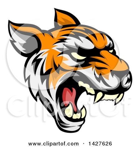 Clipart of a Roaring Vicious Tiger Mascot Face - Royalty Free Vector Illustration by AtStockIllustration