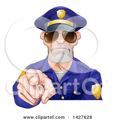 Clipart of a Tough White Male Police Officer Wearing Sunglasses and Pointing Outwards - Royalty Free Vector Illustration by AtStockIllustration
