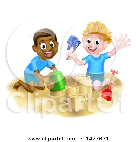 Clipart of a Happy White and Black Boys Playing and Making a Sand Castle on a Beach - Royalty Free Vector Illustration by AtStockIllustration