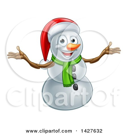 Clipart of a Happy Snowman Wearing a Christmas Santa Hat and Welcoming - Royalty Free Vector Illustration by AtStockIllustration