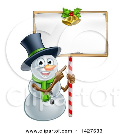 Clipart of a Happy Christmas Snowman Wearing a Top Hat and Pointing to a Blank Sign - Royalty Free Vector Illustration by AtStockIllustration