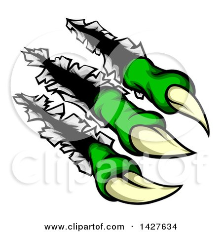 Clipart of Sharp Green Claws Shredding Through Metal - Royalty Free Vector Illustration by AtStockIllustration