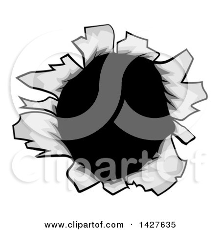 Clipart of a Paper or Metal Hole Opening - Royalty Free Vector Illustration by AtStockIllustration