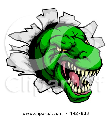 Clipart of a Cartoon Angry Green Tyrannosaurus Rex Dino Head Breaking Through a Wall - Royalty Free Vector Illustration by AtStockIllustration