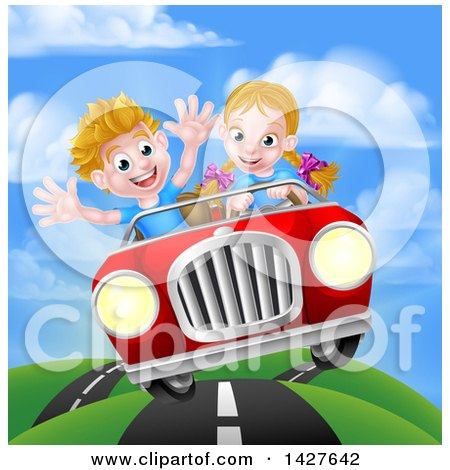 Clipart Of A Blond White Girl Driving A Boy In A Red