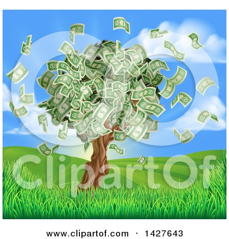 Clipart of a Money Tree with Cash Falling off in a Hilly Landscape with a Sunrise - Royalty Free Vector Illustration by AtStockIllustration