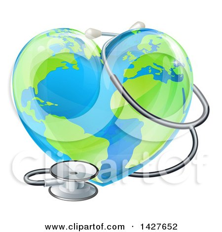 Clipart of a 3d Medical Stethoscope Around a Heart Earth Globe - Royalty Free Vector Illustration by AtStockIllustration