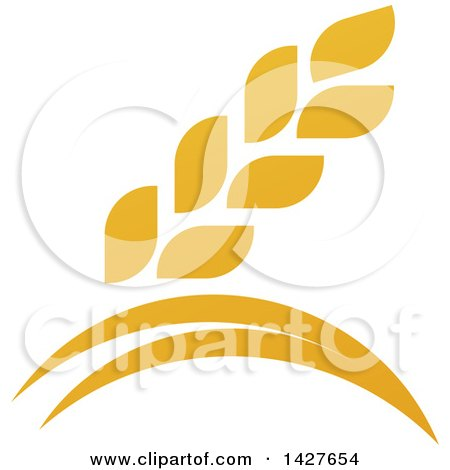 Clipart of a Golden Wheat Grain and Arches Design - Royalty Free Vector Illustration by AtStockIllustration