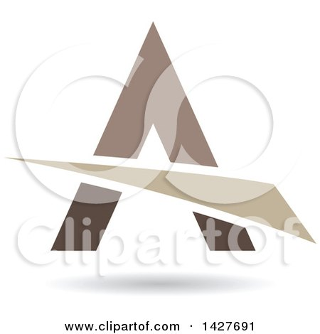 Clipart of a Triangular Brown Black and Tan Letter a Logo or Icon Design with a Swoosh and Shadow - Royalty Free Vector Illustration by cidepix