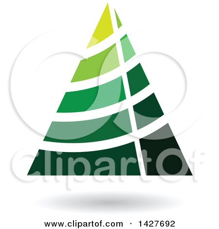 Clipart of a Green Striped Triangular Letter a Logo or Icon Design with a Shadow - Royalty Free Vector Illustration by cidepix