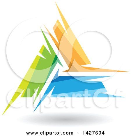 Clipart of a Triangular Abstract Artistic Green, Orange and Blue Letter a Logo or Icon Design with a Shadow - Royalty Free Vector Illustration by cidepix