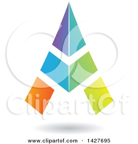 Clipart of a Triangular Colorful Letter a Logo or Icon Design with a Shadow - Royalty Free Vector Illustration by cidepix