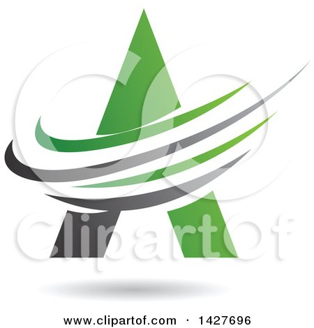 Clipart of a Triangular Green Letter a Logo or Icon Design with Swooshes and a Shadow - Royalty Free Vector Illustration by cidepix