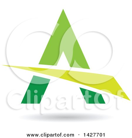 Clipart of a Triangular Green Letter a Logo or Icon Design with a Swoosh and Shadow - Royalty Free Vector Illustration by cidepix