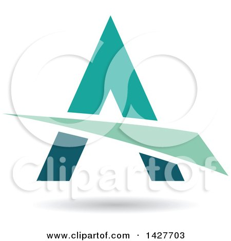 Clipart of a Triangular Green and Turquoise Letter a Logo or Icon Design with a Swoosh and Shadow - Royalty Free Vector Illustration by cidepix