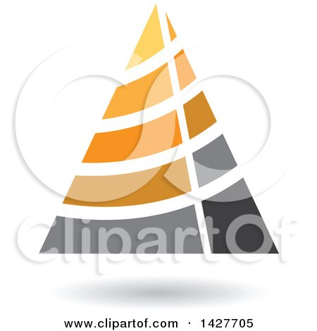 Clipart of a Striped Orange Triangular Letter a Logo or Icon Design with a Shadow - Royalty Free Vector Illustration by cidepix