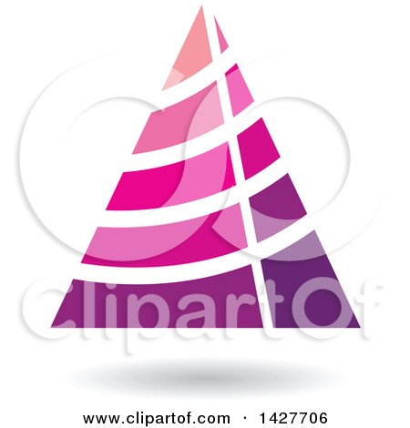 Clipart of a Striped Purple and Pink Triangular Letter a Logo or Icon Design with a Shadow - Royalty Free Vector Illustration by cidepix