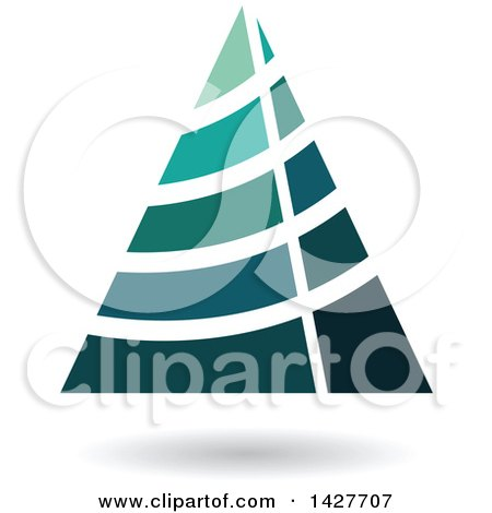 Clipart of a Striped Triangular Letter a Logo or Icon Design with a Shadow - Royalty Free Vector Illustration by cidepix