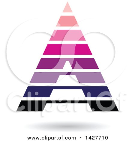 Clipart of a Striped Pink and Purple Pyramidical Triangular Letter a Logo or Icon Design with a Shadow - Royalty Free Vector Illustration by cidepix