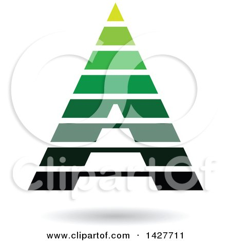 Clipart of a Striped Green Pyramidical Triangular Letter a Logo or Icon Design with a Shadow - Royalty Free Vector Illustration by cidepix
