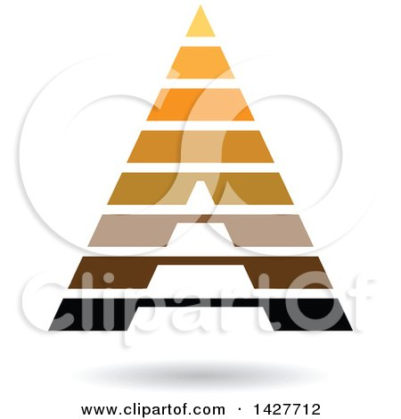 Clipart of a Striped Orange and Brown Pyramidical Triangular Letter a Logo or Icon Design with a Shadow - Royalty Free Vector Illustration by cidepix