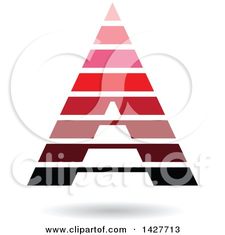Clipart of a Striped Pink and Red Pyramidical Triangular Letter a Logo or Icon Design with a Shadow - Royalty Free Vector Illustration by cidepix
