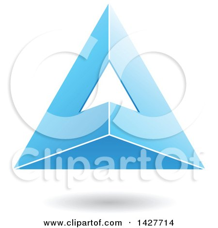 Clipart of a 3d Pyramidical Triangular Blue Letter a Logo or Icon Design with a Shadow - Royalty Free Vector Illustration by cidepix