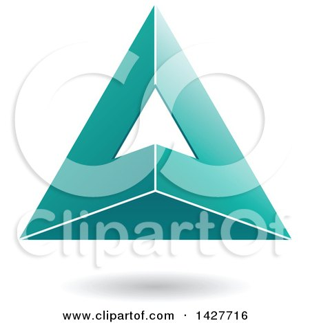 Clipart of a 3d Pyramidical Triangular Turquoise Letter a Logo or Icon Design with a Shadow - Royalty Free Vector Illustration by cidepix