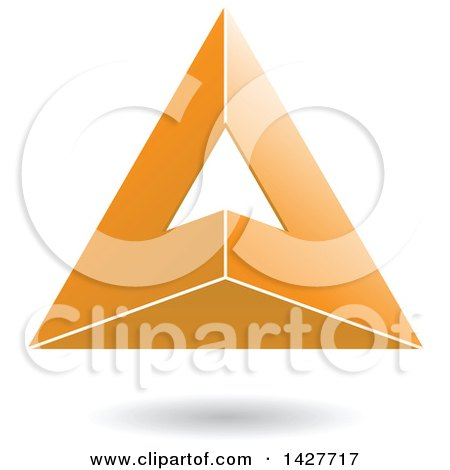 Clipart of a 3d Pyramidical Triangular Orange Letter a Logo or Icon Design with a Shadow - Royalty Free Vector Illustration by cidepix
