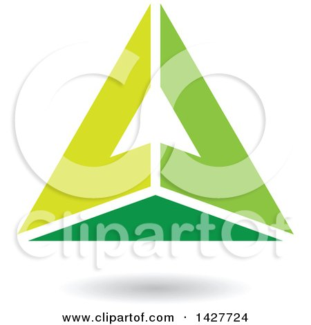 Clipart of a Pyramidical Triangular Green Letter a Logo or Icon Design with a Shadow - Royalty Free Vector Illustration by cidepix