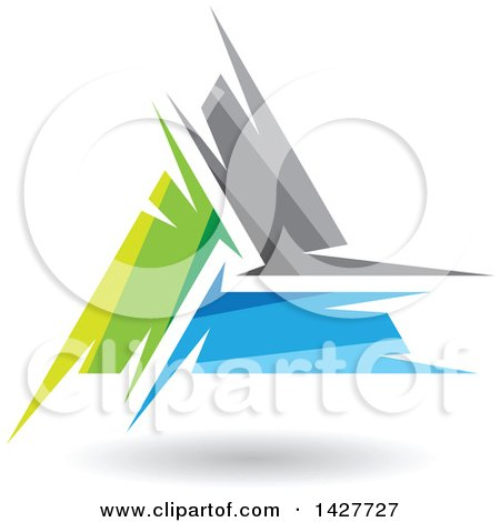 Clipart of a Triangular Abstract Artistic Green Gray and Blue Letter a Logo or Icon Design with a Shadow - Royalty Free Vector Illustration by cidepix