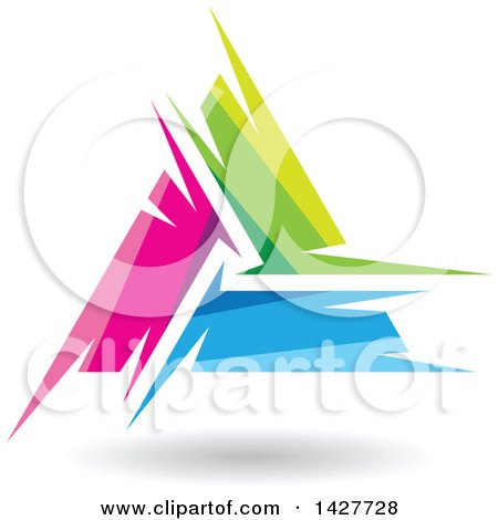 Clipart of a Triangular Abstract Artistic Pink Green and Blue Letter a Logo or Icon Design with a Shadow - Royalty Free Vector Illustration by cidepix