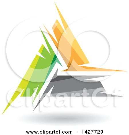 Clipart of a Triangular Abstract Artistic Green Yellow and Gray Letter a Logo or Icon Design with a Shadow - Royalty Free Vector Illustration by cidepix