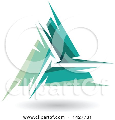 Clipart of a Triangular Abstract Artistic Green Letter a Logo or Icon Design with a Shadow - Royalty Free Vector Illustration by cidepix